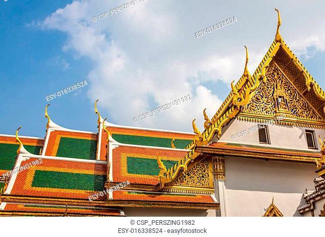 Roof of Wat Phra Kaew, Temple of the Emerald Buddha, Bangkok, Th