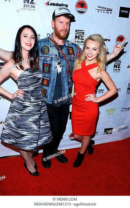 Dark Sky Films premiere of 'Deathgasm' - Arrivals Featuring: Delaney Tabron, Jason Lei Howden, Kimberley Crossman Where: Los Angeles, California