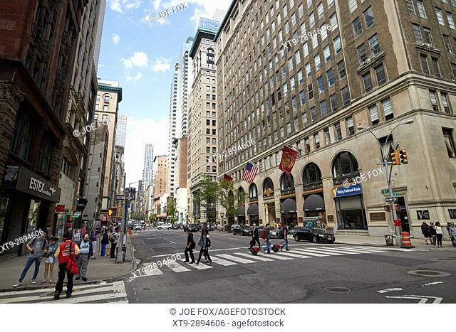 looking up fifth avenue from the textile building nomad New York City USA