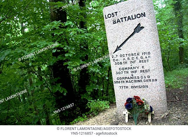 France, Champagne-Ardenne, Marne 51, Binarville - Stela remembering the battle of the Lost Battalion in october 1918, an american division massacred by the...