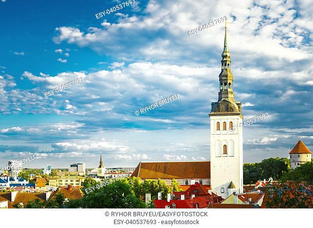 White Old Medieval Former St. Nicholas Church (Niguliste) In Tallinn, Estonia