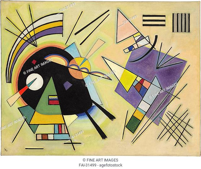 Black and violet by Kandinsky, Wassily Vasilyevich (1866-1944)/Oil on canvas/Abstract expressionism/1923/Russia/Private Collection/77,8x100