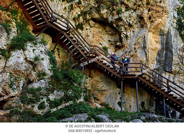 Steps leading to the Roski Slap viewpoint, Krka National Park, Croatia