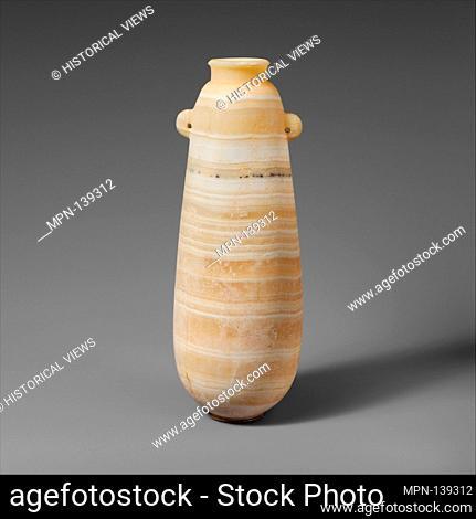 Alabaster alabastron (perfume vase). Period: Archaic or Classical; Date: 6th-5th century B.C; Culture: Cypriot; Medium: Calcite (alabaster); Dimensions: H