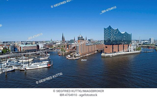 Aerial view, Elbe Philharmonic Hall, HafenCity, Hamburg, Germany
