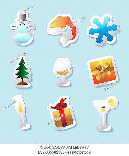 Sticker icons for christmas