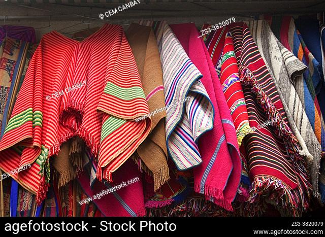 View to the Ponchos in a touristic shop at the historic center, La Paz, Bolivia, South America
