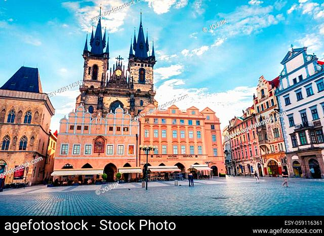 PRAGUE, CZECH REPUBLIC - MAY 14, 2016: Old Town Square with Tyn Church is one of the most recognisable sights on Old Town Square