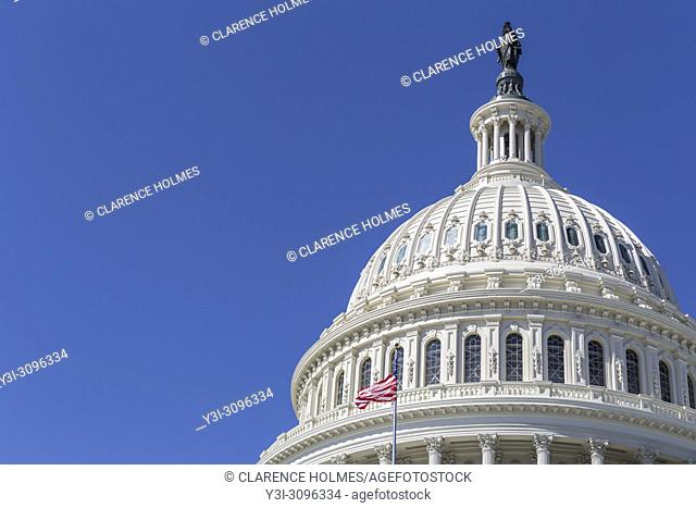 An offset view of the dome of the U. S. Capitol Building in Washington, DC