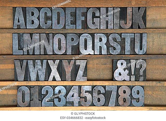 A old set of wooden printers type