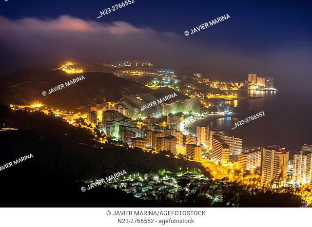 Night view of Cullera, Valencia, Spain