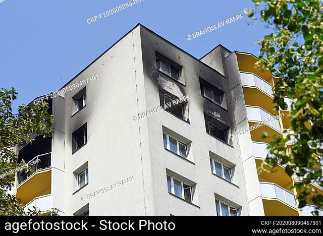 A pre-fab house in Bohumin, Czech Republic, is seen on August 9, 2020, one day after eleven people died in the house due to fire attack