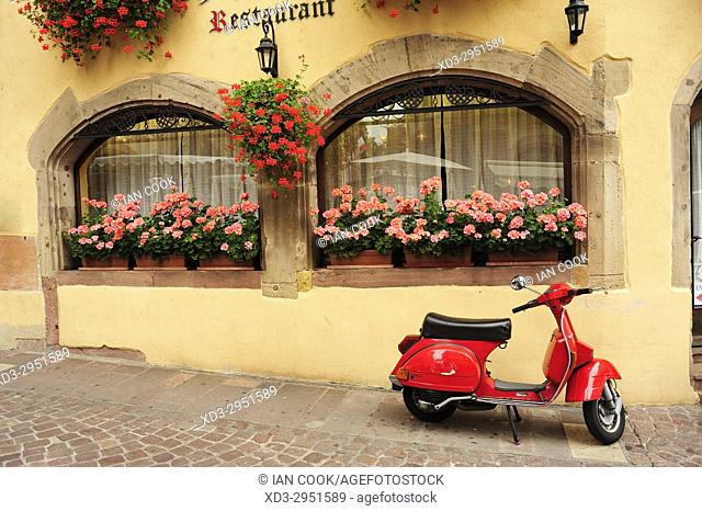 parked Vespa motor scooter, Colmar, Haut-Rhin department, Alsace, Franceff