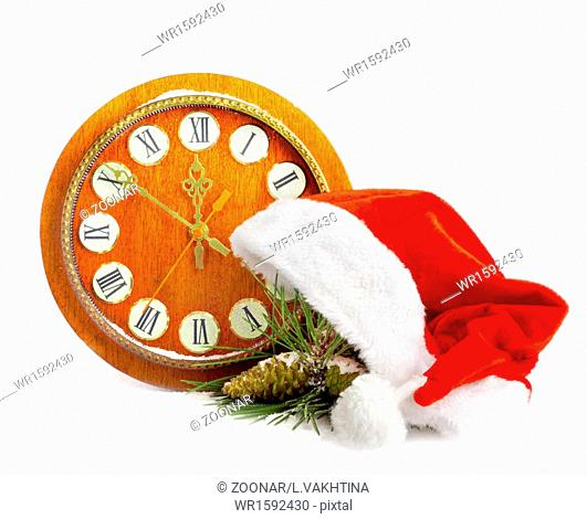 Santa Claus hat, clock and Christmas tree isolated on white background