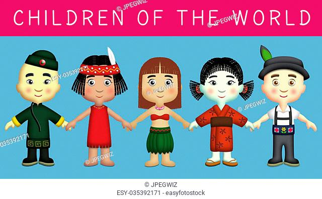 Children of different countries in their national costumes