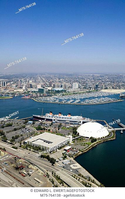 Aerial view of the Queen Mary with the city of Long Beach in the background