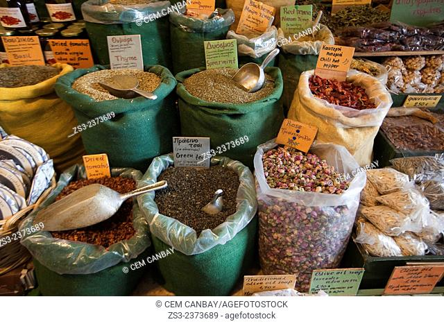 Different legumes in sacks at the market, Naxos, Cyclades Islands, Greek Islands, Greece, Europe