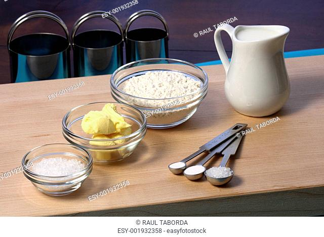 dough ingredients and kitchen utensils