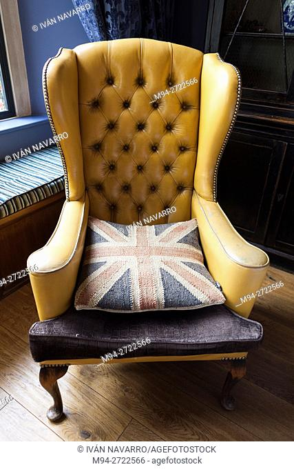 Chair with UK flag cushion