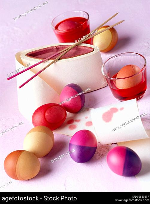 Coloured Easter eggs and food colouring