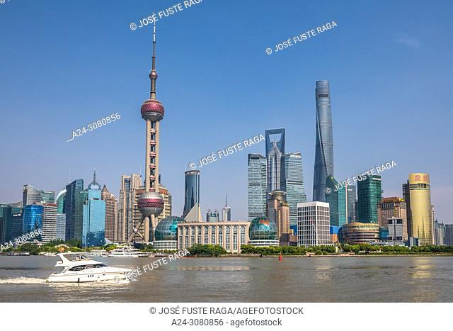 China, Shanghai City, Pudong District, Lujiazui Area, Oriental Pearl Tower, Jin Mao Bldg. , World Financial Center and Shanghai Tower