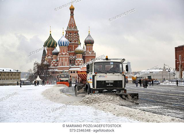 St. Bazil's cathedral on the Red square in winter. Moscow