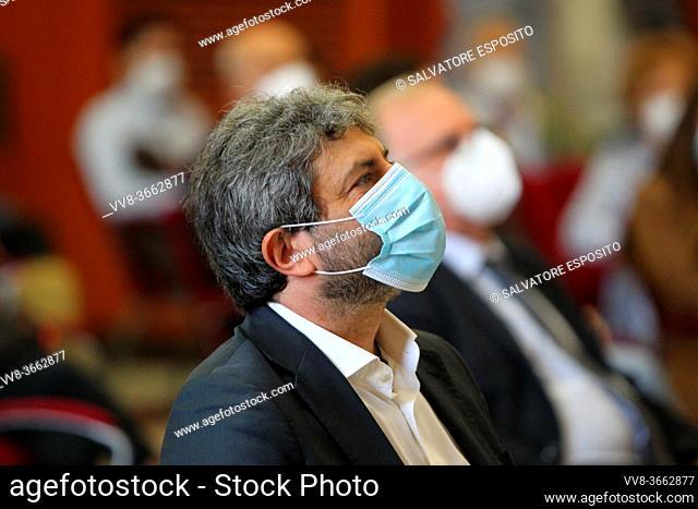 "Roberto Fico, President of the Chamber of Deputies( Presidente della Camera dei Deputati) in Naples during the conference """"IL CAPITALE NATURALE"""""