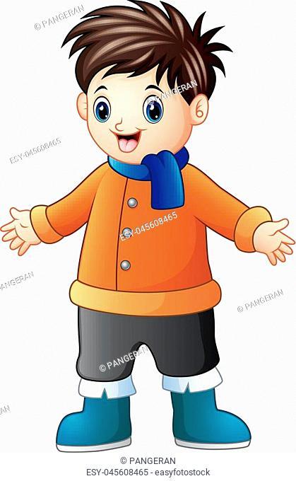 Vector illustration of Cartoon happy boy in winter clothes