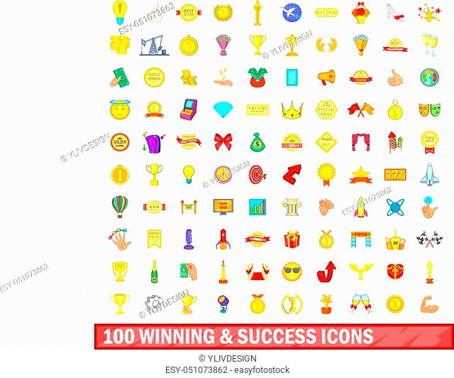 100 winning and success icons set in cartoon style for any design vector illustration