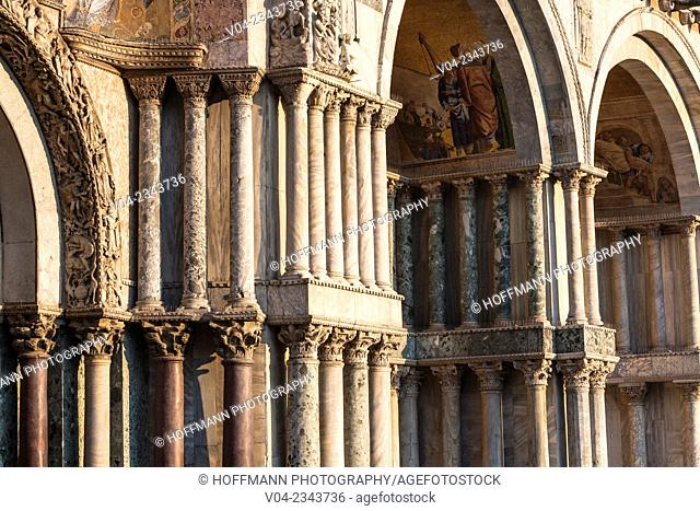 Detail of the famous St Mark's Basilica (Basilica di San Marco) in Venice, Italy, Europe
