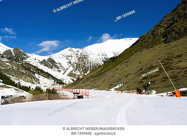 Groomed pistes in the Vall de Núria valley, northern Catalonia, Spain, Europe