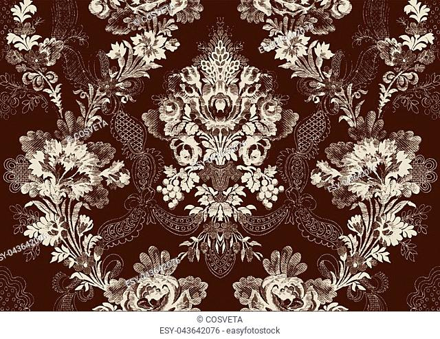 Abstract hand-drawn floral seamless pattern, vintage background. Floral pattern can be used for wallpaper, textile, pattern fills, web page background