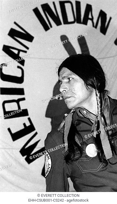 Dennis Banks, announcing his resignation as national executive of AIM, American Indian Movement. He cited pressures from his trial resulting from the AIM 71 day...