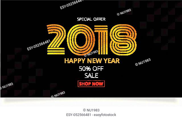 gold celebration 2018 New year sale promotion banner. 2018 gold text embed foil texture square background Illustration EPS10