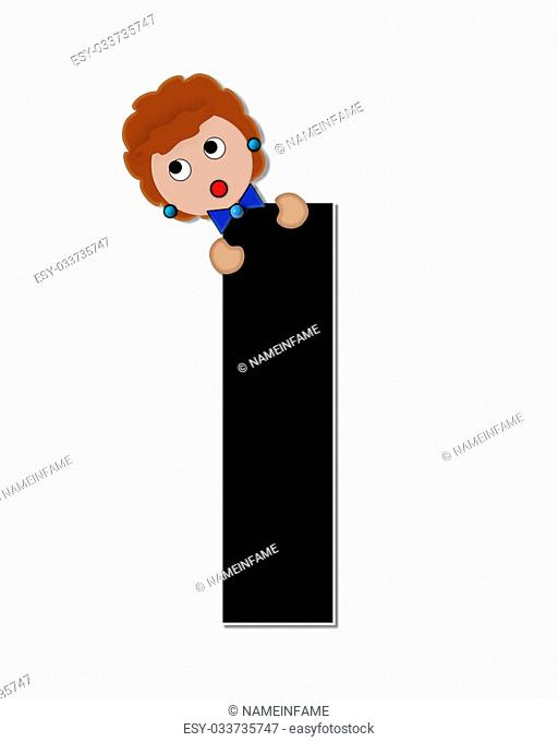 """The letter I, in the alphabet set """"""""Childlike Expressions,"""""""" is black and outlined with white. Children peek around edges of letters with a collection of..."""