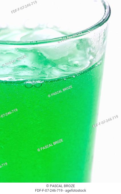Close-up of a glass of mint syrup