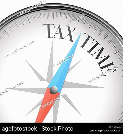 detailed illustration of a compass with Tax Time text, eps10 vector