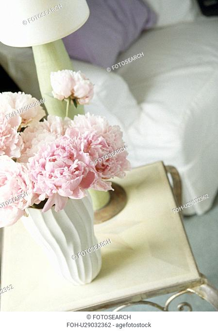 Close-up of pink flowers in white vase