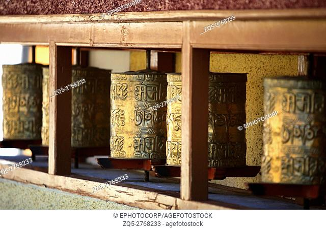 Prayer wheels of shey gompa, Ladakh, Jammu Kashmir, India