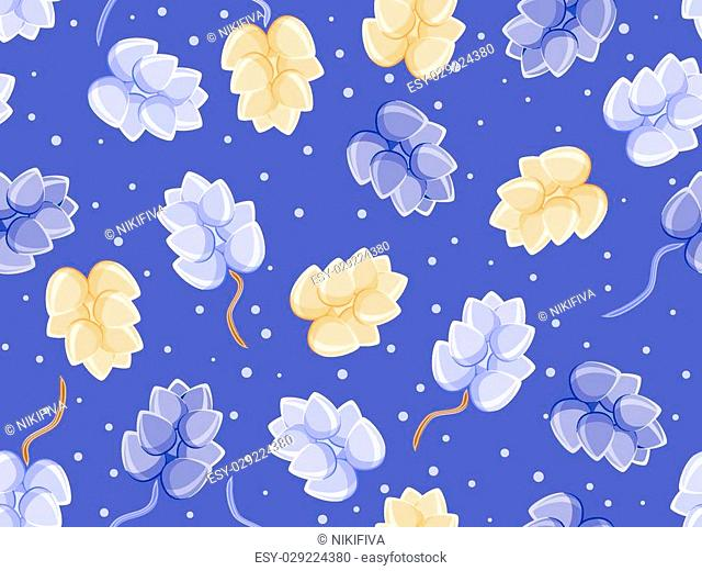 floral seamless pattern on blue background with ligth blue and orange buds