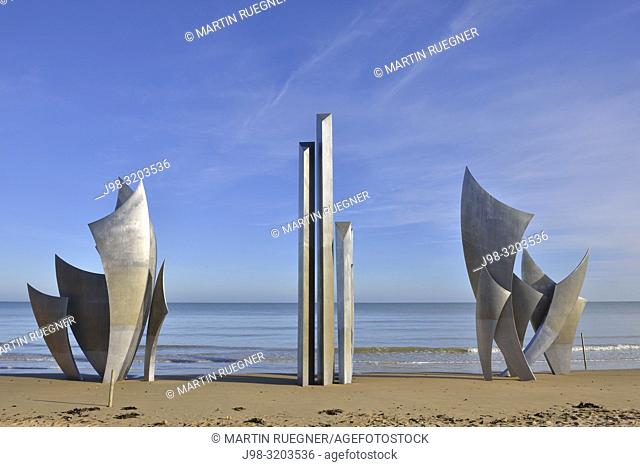 D-Day memorial on Omaha Beach, Normandy, France. A sculpture called The Braves by artist Anilore Banon located on Omaha beach