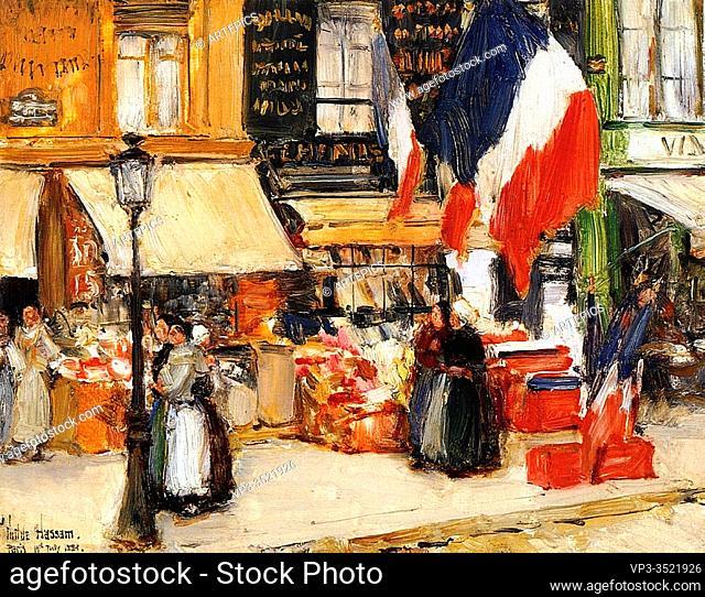 Frederick Childe Hassam - Bastille Day Boulevard Rochechouart Paris 1889