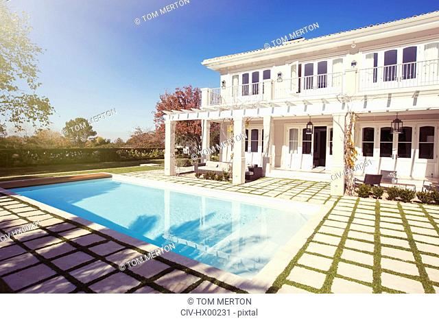 Swimming pool outside luxury house