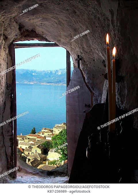 Iconostasis in a hole on the rocks over Monemvasia. Laconia, Peloponnese. Greece