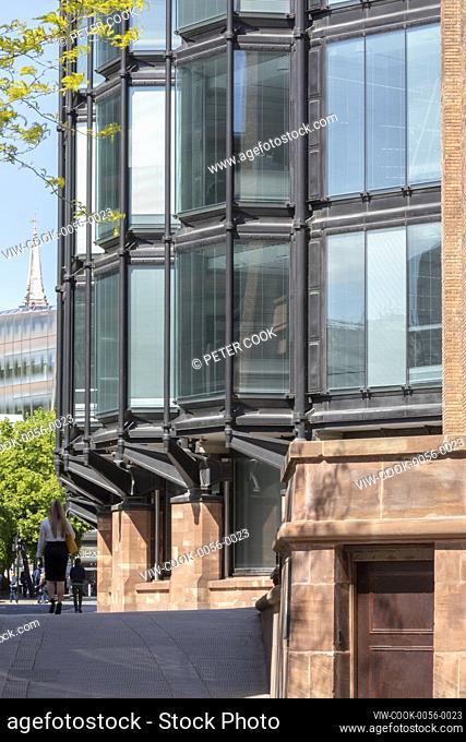 Detail of Hopkins' elevation along Distaff Lane. Bracken House, London, United Kingdom. Architect: John Robertson Architects, 2019