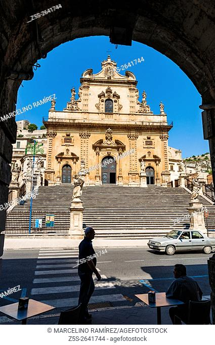Baroque church of San Pietro - Saint Peter church - in the town of Modica, Ragusa, Sicily, Italy