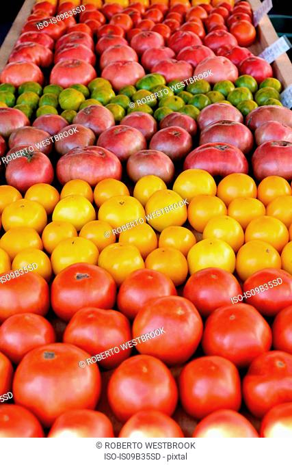 Variety of heirloom tomatoes at farmer's market