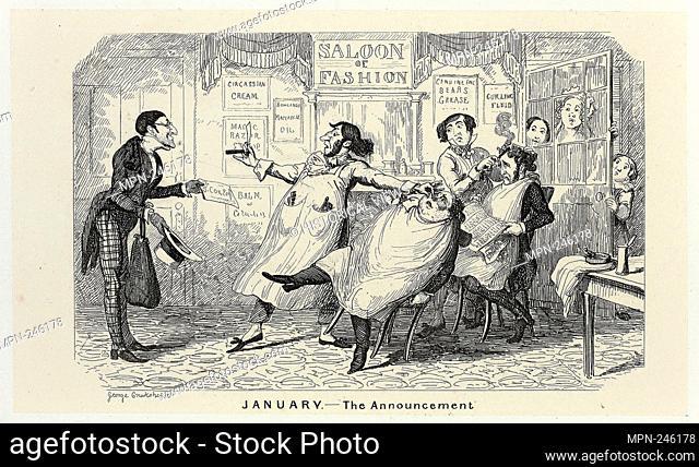 January - The Announcement from George Cruikshank's Steel Etchings to The Comic Almanacks: 1835-1853 - 1840, printed c. 1880 - George Cruikshank (English