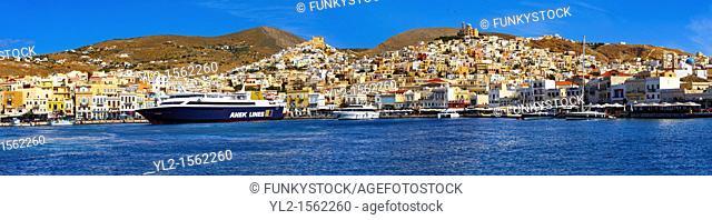 Ermoupolis or Hermoupolis harbour & port , Syros  S  , Greek Cyclades Islands
