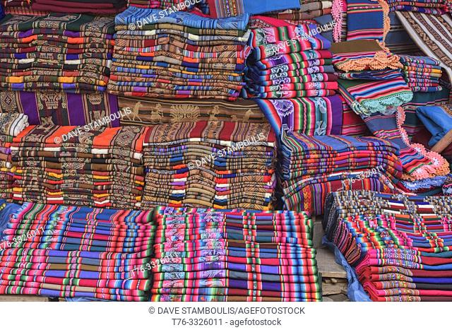 Traditional Yampara textiles for sale, Tarabuco, Bolivia
